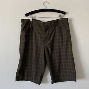 "Size 36 Mens HURLEY Brown Plaid Shorts 12"" Inseam"