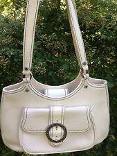 Brighton Off White Vintage Leather HandBag Tote Satchel Medium Shoulder Bag