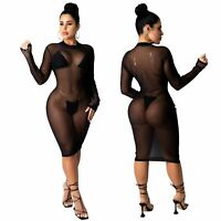 NEW Women Stylish Long Sleeves Mesh See Through Bodycon Dress Clubwear Party