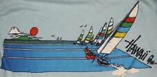 80s Vintage Hawaii Rainbow Surf Surfing Sailing Beach Souvenir Poly Tees T Shirt