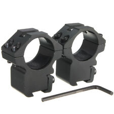"""2x 25.4mm 1"""" Scope Ring Mounts Tube High For 11mm 3/8 Dovetail Air Rifle Clamp"""