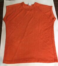 Vintage Mesh Knit T Shirt Short Sleeve Orange Islander Made in USA Size M
