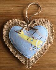 Coeur Décoration Cath Kidston vintage avions Handmade suspendu jaune