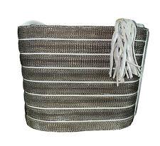 Chain Mail Purse Sharif Metallic Silver Gray Gold Stripe Shoulder Bag Tasseled