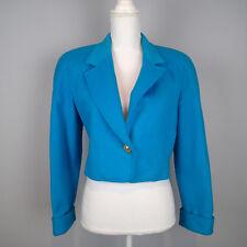 carlisle blazer,JACKET sz 4  TEAL BLUE  wool cashmere CROPPED   H5
