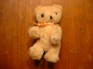 "Vintage Miniature 3 1/2"" Jointed Yellow Mohair Teddy Bear"