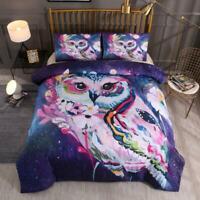 3D Owl Flower ZHUA1152 Bed Pillowcases Quilt Duvet Cover Set Queen King Zoe