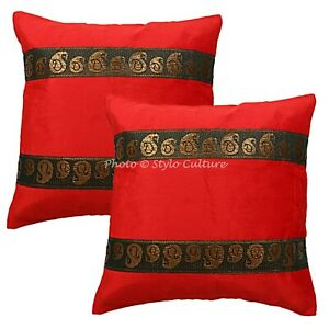 Ethnic Living Room Sofa Cushion Covers 16x16 Brocade Satin Velvet Floral 2 Pc