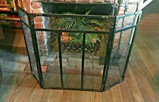 Decorative 3-Panel Folding Fireplace Mesh Screen - Black Finish with Corner Deco