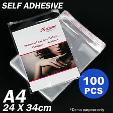 100pcs 340 x 240mm A4 Cello Bag Clear Cellophane Bags Self Adhesive Resealable