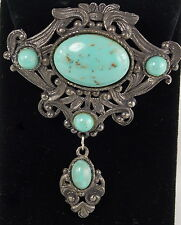 Faux Turquoise Stones Beautiful Scrollwork Victorian Style Pin in Pewter Has