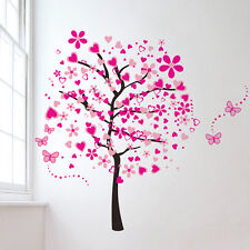 Wandtattoo Wandbild Sticker Deko Romantik Herz Baum Blume Liebe Pink Bunt Top #1
