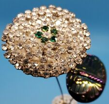 Lot 1- Antique Carnival Glass Butterfly Hat Pin 2- Victorian Rhinestone hat pin