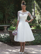 Short Lace Tea-Length Wedding Dress with 3/4 Length Sleeve Jacket Bridal Gowns