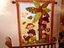 Bedtime Originals Curly Tails Crib Set Monkey Safari Lambs & Ivy 3pc Bedding NEW