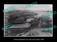Old Large Historic Photo Of Fleetwood England, The Town & Docks c1920 1
