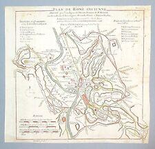 Eau Forte aquarellé, cartographie, plan de la Rome Ancienne, 18ème