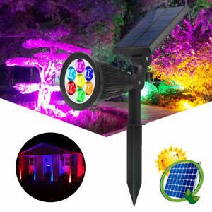 Solar Power 7-LED Spot Light 7 Colors Changing Path Wall Light Garden Outdoor A