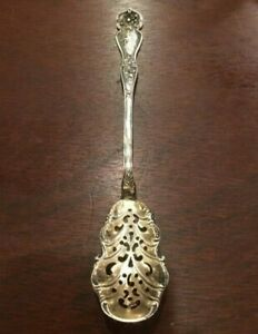 """Antique Blackinton CHERRY BLOSSOM Sterling Silver Pierced Olive Spoon 6 1/4"""""""
