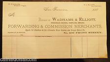 Wadhams & Elliot Forwarding & Commission Merchants Unused Letterhead Invoice1880