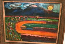 """""""Procession in Orange"""" Expressionist Oil Painting-1960s-Israel Louis Winarsky-NJ"""
