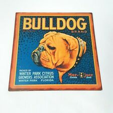 Winter Park Citrus Florida Bulldog Brand Metal Wall Hanging Sign Man Cave
