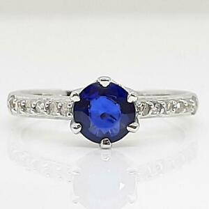 $1,299 Solid 14K White Gold 1.12ctw Blue Sapphire & I-SI Diamond Ring Size 7