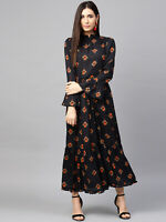 Fashion Women Floral Print Long Sleeve Dress Ladies Boho Long Maxi Summer Party