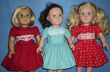 """Lot (3)18"""" inch Doll  Dresses ~ Fit Dolls Such as American Girl ~  NEW Handmade"""