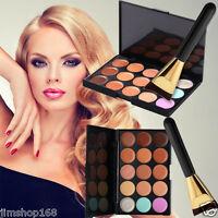 New 15 Color Concealer Palette Kit + Makeup Brush Set Face Makeup Contour Cream