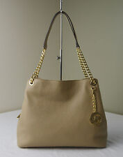 Michael Kors Dark Camel Pebble Leather Jet Set Chain Large Shoulder Tote