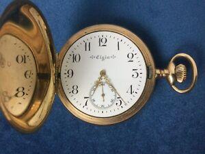 antike Taschenuhr Elgin Sprungdeckel Savonette vergoldet 110 Gramm  Ersatzteile