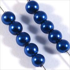 100 perles Nacrées 4mm Bleu verre de Bohème
