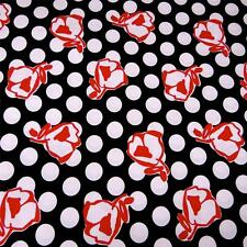 """Vintage by John Kaldor Cotton Fabric, Abstract Red Roses on Polka Dot  26""""x44"""""""