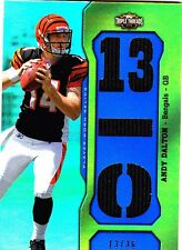 2011 TOPPS TRIPLE THREADS FOOTBALL ANDY DALTON TRIPLE JERSEY RC 13/36