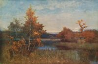 SIR ALFRED EAST 1886 Oil Painting AN AUTUMN AFTERGLOW 1930 Vintage Art BookPrint