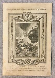 Battle off Cape La Hogue 1692 Original Print. Barnard's History of England 1783