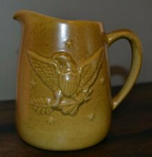 Antique Early American Light Brown Mustard Glaze Stoneware Eagle Pitcher