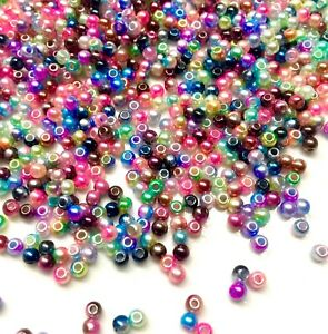 1000x Tiny 3mm Rainbow Mermaid Faux Pearl Beads for Jewellery Craft Making