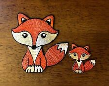 2 Design Fox Brown Color Embroidered Iron On Patch  Super Cute 2 pcs