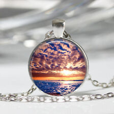 Sunset photo Tibet silver dome Glass Cabochon Necklace chain Pendant #488