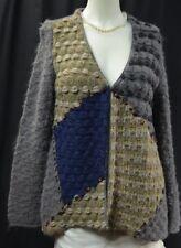 CHAPARE Alpaca blend shabby Sweater Cardigan chic fuzzy multi Womens Size L NEW