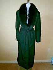 Blumarine Black Acetate/Poly Genuine Fox Fur Collar Belted Waist Long Coat Sz 46