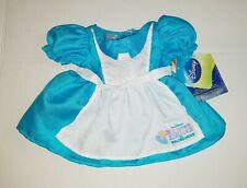 New Build a Bear Disney Alice In Wonderland Blue/White Dress Rare