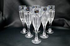 Champagne Crystal glass set of 6 flutes 4oz Czech Bohemia Crystal Wedding Gift