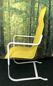 Vtg Lloyd Loom Flanders Perma Wicker Bay Breeze High Back Bounce Chair Yellow