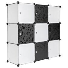 Armoires plastique Étagères Meuble rangement 112 cm modulable motifs Noir/Blanc