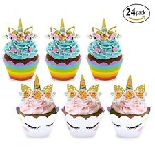 24 pack Mpeter Unicorn cupcake toppers and wrappers,Kids party cake decorations