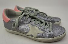 Golden Goose Superstar Silver Glitter Lace-Up Sneakers Women's Shoes Size 36
