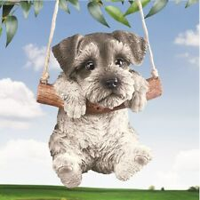 Hang Around Schnauzer Puppy Dog Swinging In Tree Garden Statue